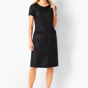 Talbots Tweed and Pearl Black  Shift Dress 10P